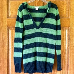 NWT Love Rocks Green & Gray Hooded Sweater L
